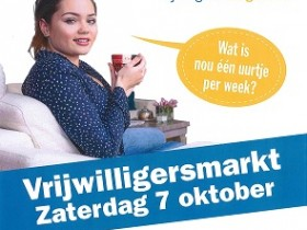 Vrijwilligersmarkt Hoogeveen op 7 oktober as.